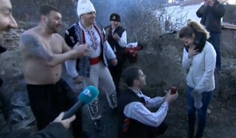 Предложение за брак след леденото хоро в Калофер
