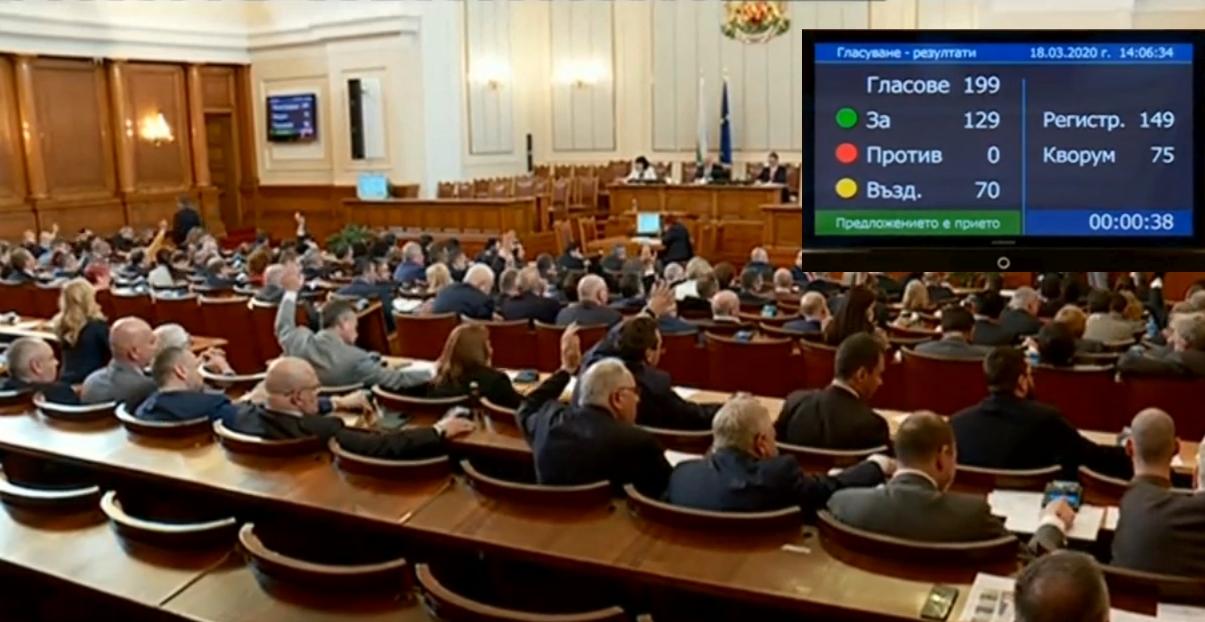 Депутатите приеха на първо четене новия Закон за мерките за извънредното положение