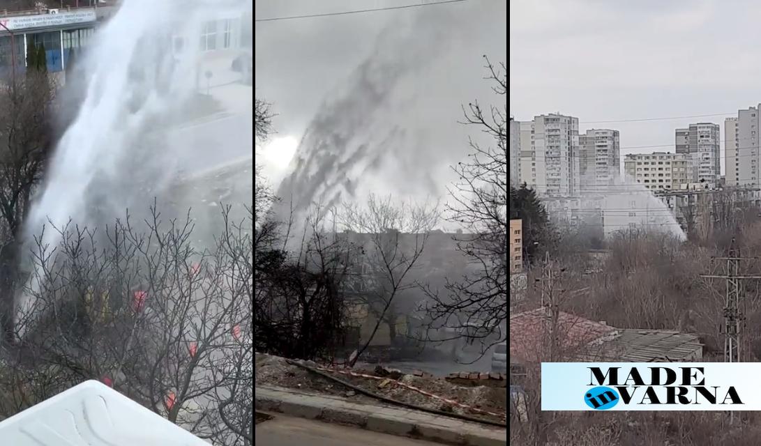 """Видео: Огромен гейзер бликна в квартал """"Левски"""""""